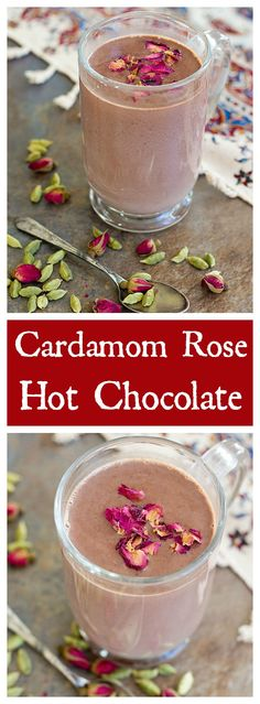 Rich Cardamom Rose Hot Chocolate is a delicious cozy drink for cold winter evenings. Quality chocolate melted in milk and infused with Middle Eastern ingredients makes for a dreamy drink. (make drinks hot chocolate) Non Alcoholic Drinks, Fun Drinks, Yummy Drinks, Healthy Drinks, Yummy Food, Cocktails, Beverages, Dessert Drinks, Smoothies