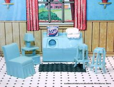 ADORABLE-LAUNDRY-ROOM-w-STOOLS-VIntage-MARX-STYLED-Dollhouse-Furniture ...