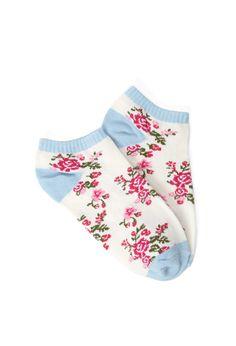 Rose Pattern Ankle Socks