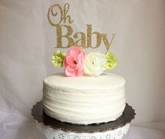 Baby shower cake topper- oh baby- gold cake topper-rustic baby shower-shabby chic baby shower-3-5 business days before is shipped-baby girl by Torisshoppe on Etsy