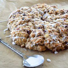 white chocolate cranberry scone recipe with white chocolate drizzle
