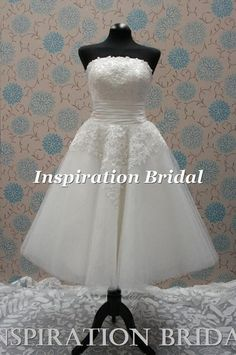 wedding dress bridal gown short 1950s 60s 50s vintage inspiration 1272 lace | eBay