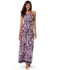 INC International Concepts Printed Halter Maxi Dress, Only at Macy's
