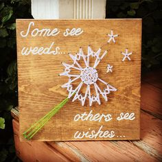 """This listing is for a dandelion wishes string art sign. This sign would be a perfect addition to your home decor or childrens room! This sign measures approximately 9.25"""" x 10"""". Boards can be stained with Special Walnut, Dark Walnut, or Classic Gray (examples above). Please include String Crafts, String Art, Diy Crafts, Dandelion Wish, Stain Colors, Art Pictures, Quilling, Art Sign, Wood Signs"""