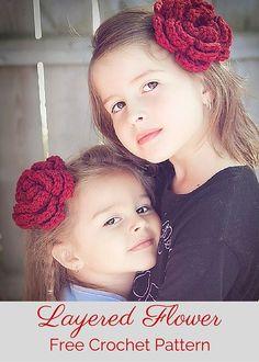 Free crochet pattern - an elegant layered flower pattern from Posh Patterns. Crochet Puff Flower, Crochet Flower Patterns, Love Crochet, Crochet Flowers, Crochet Baby, Knit Crochet, Pattern Flower, Modern Crochet, Crochet Hair Accessories