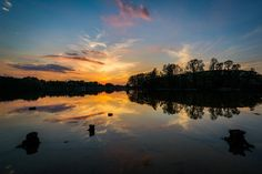 Sunset over Lake Norman from Parham Park, in Davidson, North Carolina. | Mounted Photo Print, Stretched Canvas, Metal Print Home Decor Wall Art.
