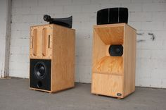 Loudspeakers 2013. AC Fir ply, Altec components. Built with Devon Turnbull of OJAS Projects for Kitsune's Cabinet De Curiosities show.