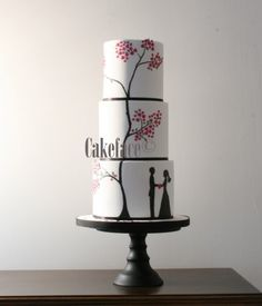Silhouette Wedding Cake by Cake Face Gorgeous Cakes, Pretty Cakes, Cute Cakes, Amazing Cakes, Silhouette Wedding Cake, Silhouette Cake, Unique Wedding Cakes, Wedding Cake Designs, Fondant Cakes