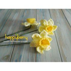 (PDF PATTERN) Flower - Daffodil Making Fabric Flowers, Crocheted Flowers, Paper Flowers, Pattern Flower, Crochet Flower Patterns, Knitting Patterns Free, Easter Crochet, Knit Or Crochet, Crochet Stitches