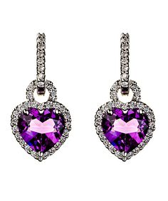 Jenny Perl Heart Shaped Amethyst Diamond Earring Enhancers
