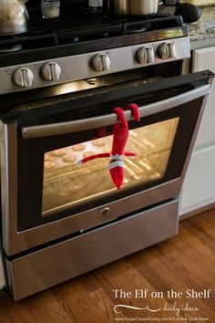 Elf on the Shelf Ideas | Elf Bakes Cookies on Frugal Coupon Living.