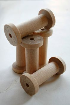 Large Wooden Spools, perfect for reusing with different ribbons and trims!