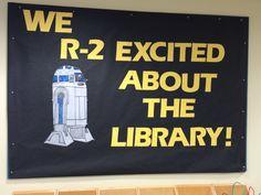 May bulletin board Star Wars School Displays, Library Displays, Classroom Displays, Classroom Themes, Book Displays, Classroom Door, Library Bulletin Boards, Bulletin Board Display, Star Wars Classroom