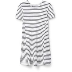 Flowy Striped Dress ($51) ❤ liked on Polyvore featuring dresses, white short sleeve dress, white stripe dress, striped full skirt, mango dresses and full skirt
