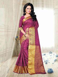 Glitzy Violet Textured Art Silk Zari Work Festive Saree #sarees #weddingsarees #festivesarees #silksarees #zariworksarees