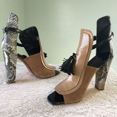 0d8a5121d Zara Snakeskin Suede Gladiator High Heels Size 36 US 6 Ankle Straps Open  Toe  ZaraCollectionbyBasic