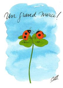 "CARTES D'ART postcard ""Un grand merci! (Very thank you)"" Lucky bugs & Clover"