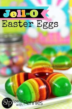 Easy to make, beautiful to look at and yummy to eat! These Jell-O Easter eggs a… Easy to make, beautiful to look at and yummy to eat! These Jell-O Easter eggs are one of my favorite easter treats! Jello Easter Eggs, Cool Easter Eggs, Hoppy Easter, Easter Food, Easter Party, Easter Stuff, Easter Brunch, Holiday Treats, Holiday Recipes