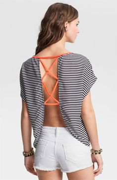 Lush Open Back Stripe Top