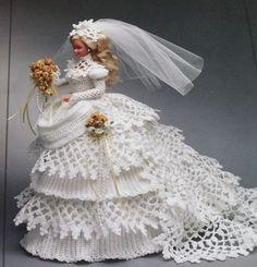 Annie's Attic 1993 Crochet Barbie Bride Doll Gown