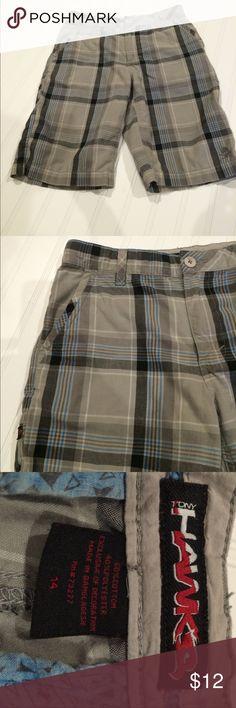 Tony Hawk shorts Gray, blue, black plaid shorts. Used, but good condition Tony Hawk Bottoms Shorts