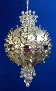Kit Makes 1 ANTICIPATION Christmas Ornaments, Beads, Satin Silk Styrofoam Ball #GrammasOldAttic
