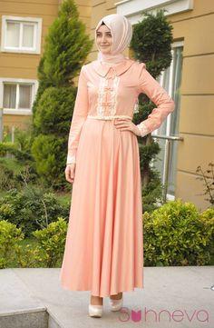 İncili Kloş Abiye Elbise - Somon - Kasırga - Abiye Tesettür Giyim | Tesettür Marka | Şal Eşarp | Abiye Modelleri