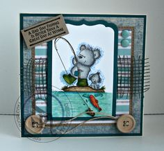 Gaynor Greaves - Crafters Companion Fishing Bear rubber stamp - Kraft card stock - Neenah solar white - Spectrum Noir Pens & Pencils  Bear - IG2 IG3 IG5 118 sea - BT1 BT2 BT4 BT5 63 land & boot - EB2 EB3 102 fish - OR1 CR10 CR11  whellies - CG2 DG3 60 #spectrumnoir #lotv
