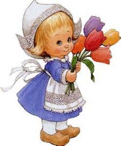 meisje met tulpen