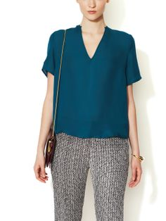 teal blouse and black ivory bottom