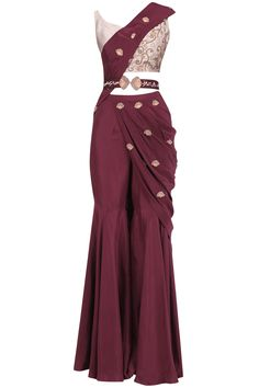 Kazmi India Oxblood Embroidered Pre Stitched Sharara Saree with Belt Party Wear Indian Dresses, Designer Party Wear Dresses, Indian Gowns Dresses, Indian Fashion Dresses, Dress Indian Style, Indian Wedding Outfits, Indian Designer Outfits, Indian Outfits, Fashion Outfits