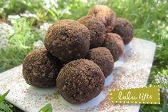 energy balls: cocoa powder, raisins, almonds, flax seed, etc.