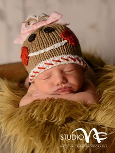 Newborn Christmas Hat...Baby Girl Gingerbread by smittenwithknitn, $26.99