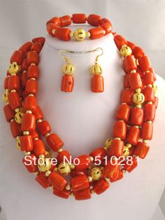 5 STRANDS CORAL DRUM BEADS NECKLACE JEWELRY SET, AFRICAN WEEDING BRIDAL $102.34