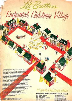 Cover of 1962 Philadelphia Inquirer advertising supplement for Lit Brothers Department Stores featuring the Enchanted Christmas Village. German Christmas Markets, Christmas Villages, Christmas Traditions, Christmas Light Show, Christmas Store, Vintage Christmas, Visit Philadelphia, Historic Philadelphia, Philadelphia History