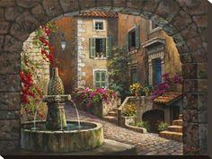 オールポスターズの ソン・キム「Fountain de Village」キャンバスプリント