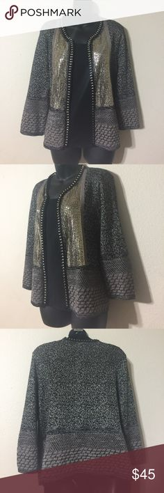 Chico's size 2 Jacket With Sequins and Chain Chico's Size 2 Black Jacket with Gold Sequins and Gold Chain Embellishments Chico's Jackets & Coats