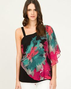 Chiffon Floral Print One Shoulder Blouse