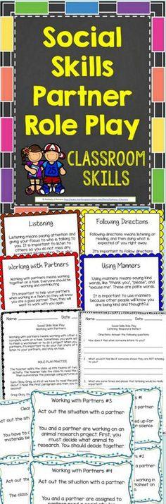 Social Skills Partner Role Plays - Social activities for learning basic classroom skills