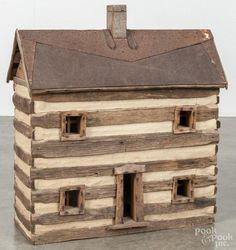 Contemporary model of a log cabin, signed D. Johnson, Washington County Md., 21'' h., 19'' w. - Price Estimate: $60 - $80