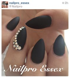 Matte black nails. NOT the almond shape.