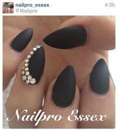Matte Black Almond Nails w/ Rhinestone Accent