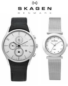 Sleek Danish designed Skagen watches available in a variety of materials for men and women.