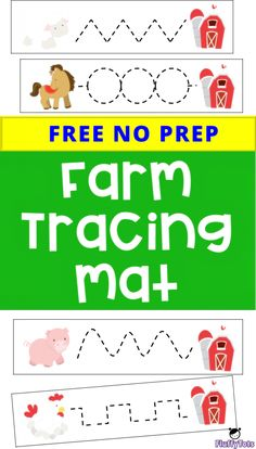 Farm Tracing Mat : FREE 7 Simple Tracing Mat for Toddlers and Preschoolers<br> Farm Animals Preschool, Preschool Writing, Free Preschool, Preschool Printables, Toddler Preschool, Preschool Farm Theme, Preschool Learning, Pre Writing, Writing Practice
