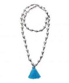 Lido Silver Blue Tassel Necklace.