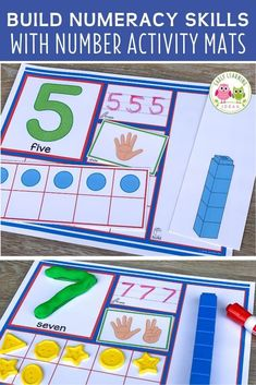 Use these 1-20 number activity mats to help your kids in preschool, pre-k and kindergarten Small Group Activities, Number Activities, Gross Motor Activities, Counting Activities, Kindergarten Curriculum, Preschool Math, Fun Math, Sensory Tools, Multi Sensory