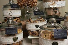Vintage Cookie jars for wedding display