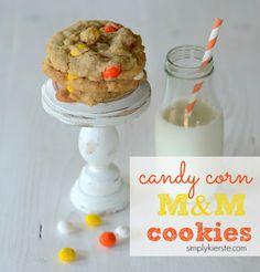 Candy Corn M&M Cookies   simplykierste.com