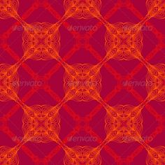 Neon Red Pattern with Renaissance Motifs