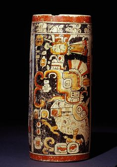 Tall black-background vase with Teotihuacan-Maya war and sacrifice themes. Guatemalan Lowlands. Maya, AD 600–900. Polychrome ceramic. Jay I. Kislak Collection, Rare Book and Special Collections Division, Library of Congress (